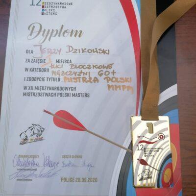 Dyplom za zajęcie I miejsca w Mistrzostwach Polski