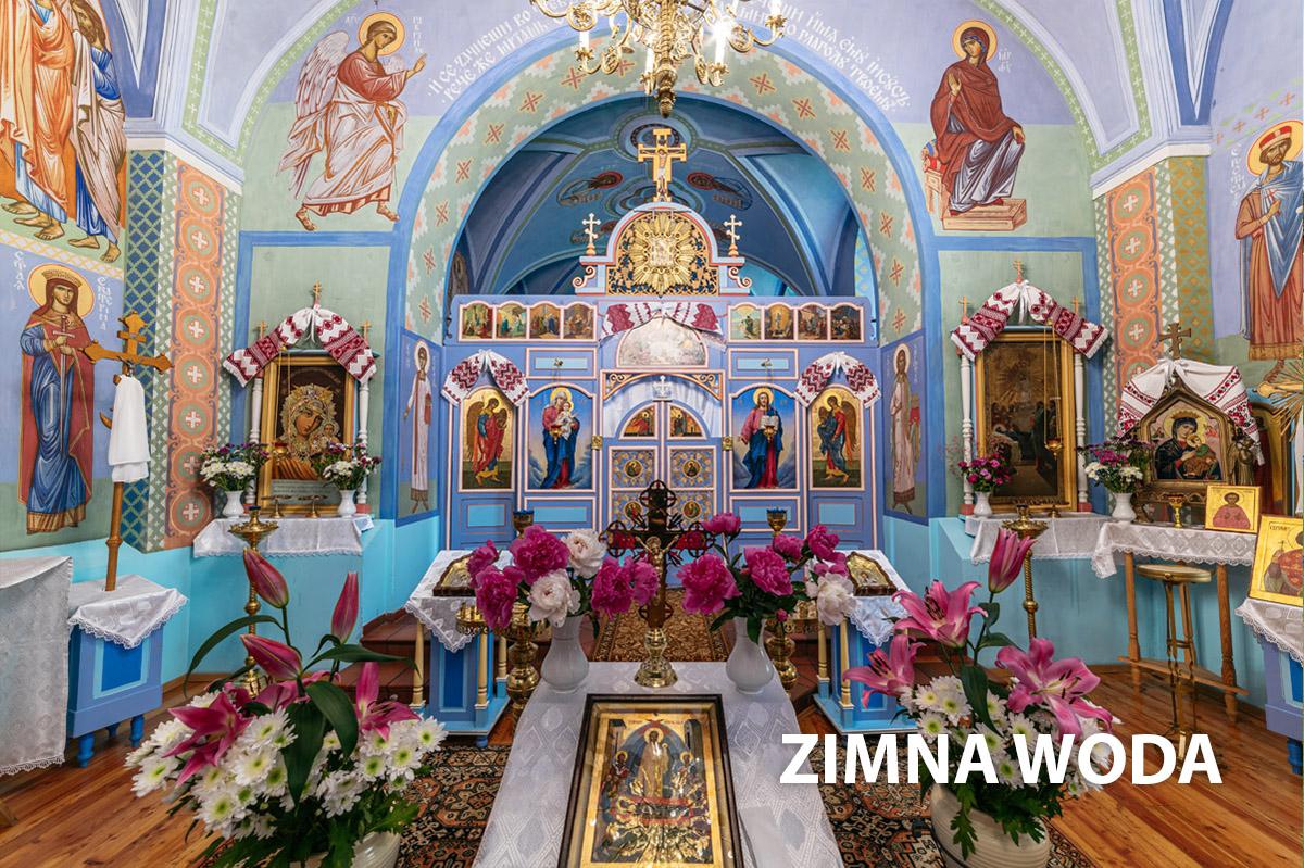 Wnętrze kościoła w Zimnej Wodzie-ołtarz