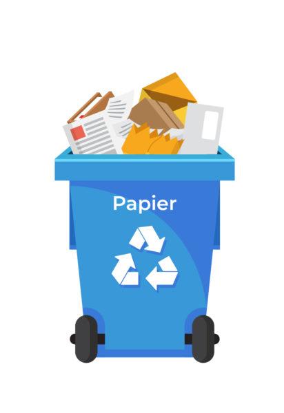 Ilustracja pojemnik na odpady-papier