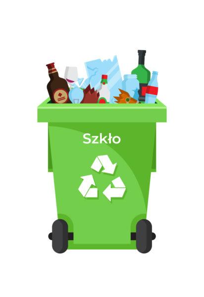 Ilustracja pojemnik na odpady-szkło