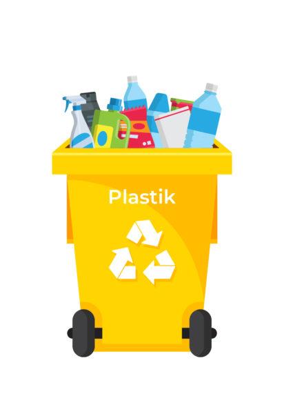 Ilustracja pojemnik na odpady-plastik