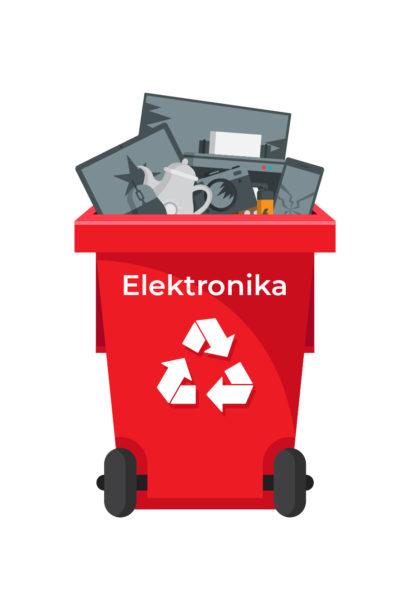Ilustracja pojemnik na odpady-elektronika