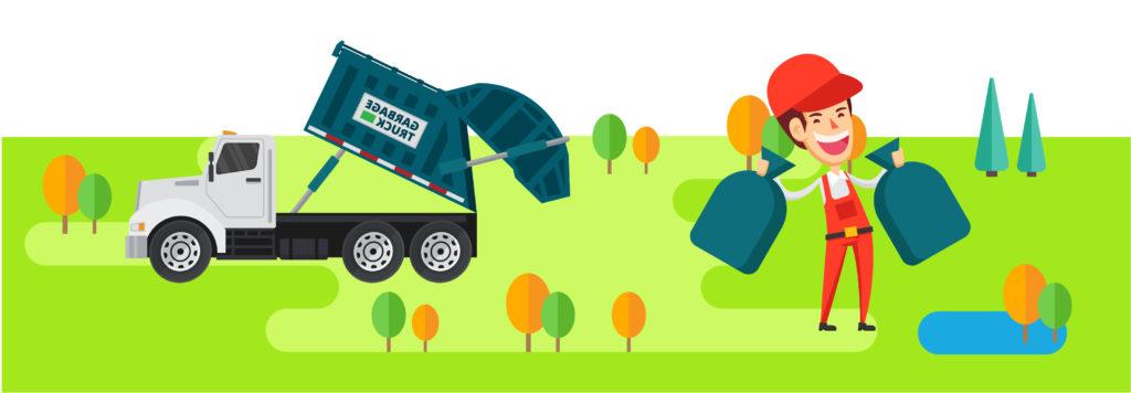 Ilustracja śmieciarki i zbiórki odpadów