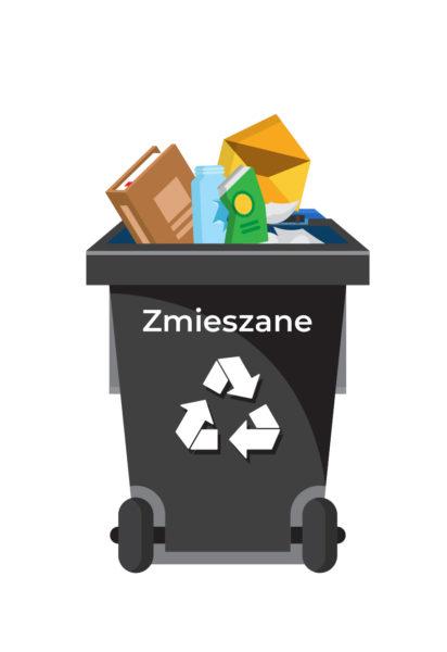 Ilustracja pojemnik na odpady-zmieszane