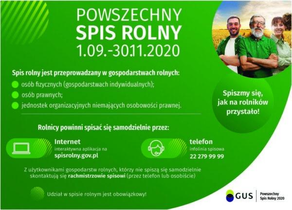 Plakat z informacjami na temat Spisu Rolnego