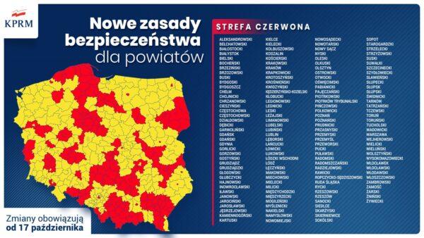 Mapa czerwonych i żółtych stref