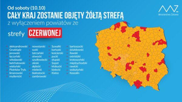 Mapa Polski z zaznaczonymi strefami epidemiologicznymi.