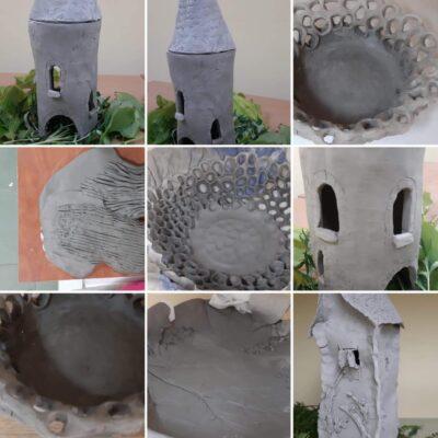Kolaż przedstawiający prace ceramiczne.