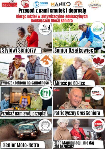 Plakat reklamujący akcje aktywizacyjno-edukacyjne dla seniorów