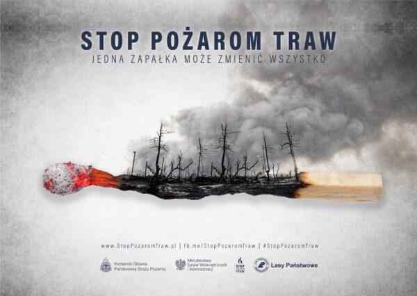 Plakat akcji Stop pożarom traw