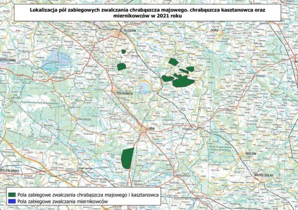 Mapa z lokalizacją pól zabiegowych