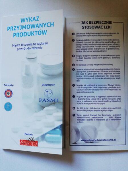 Ulotka: wykaz przyjmowanych leków.
